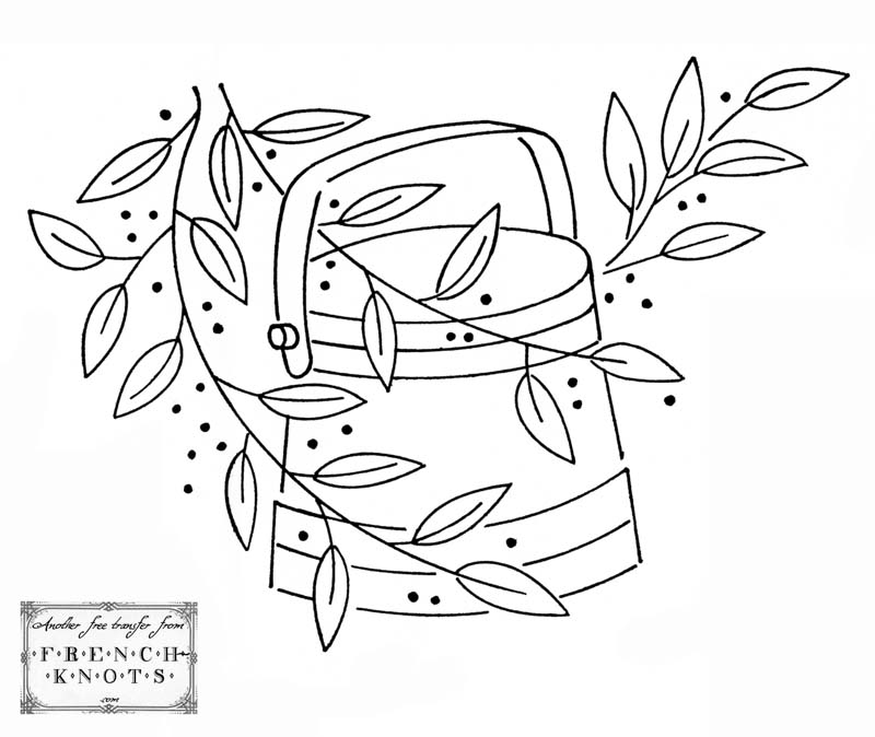bucket and leaves embroidery pattern