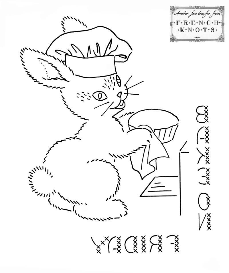 bunny chef embroidery pattern