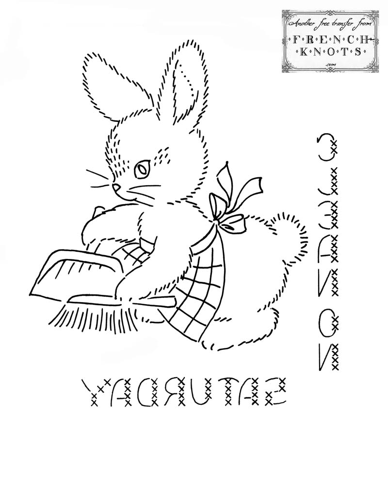 bunny embroidery transfer pattern