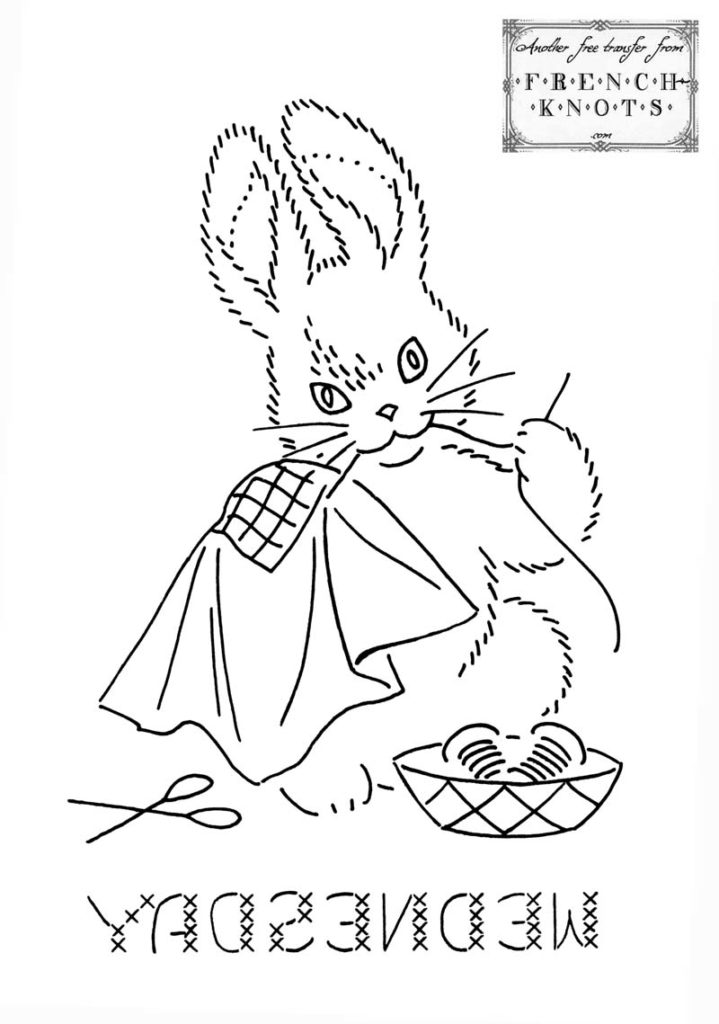 bunny embroidery transfer