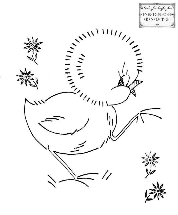 chick and flowers embroidery pattern