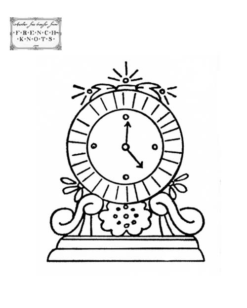 clock embroidery pattern