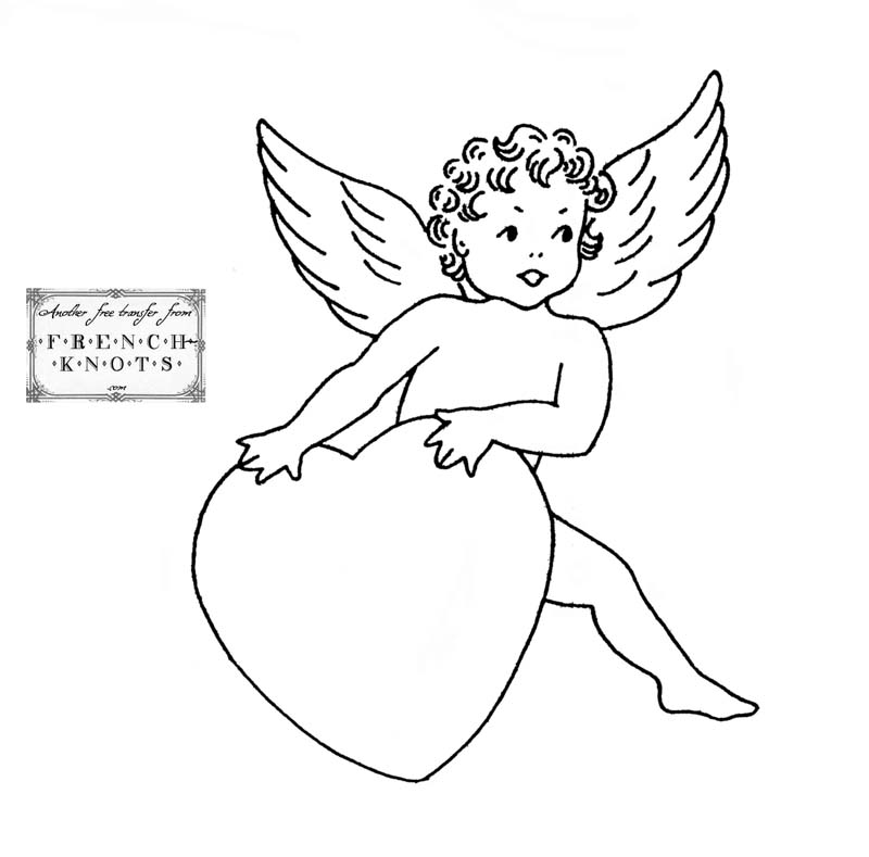 cupid and heart embroidery pattern