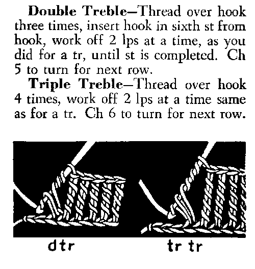 double and triple treble crochet