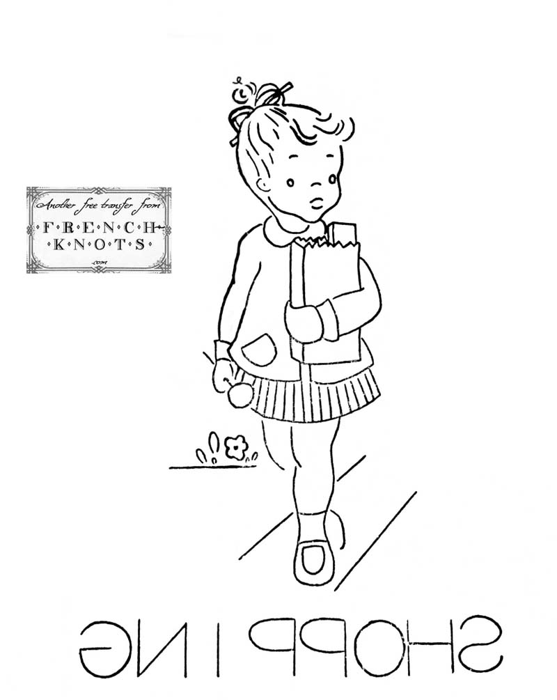 little girl days of the week embroidery patterns