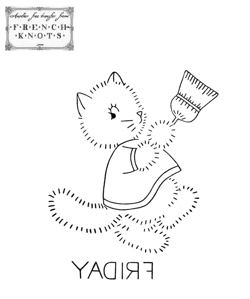 kitten days of the week embroidery pattern