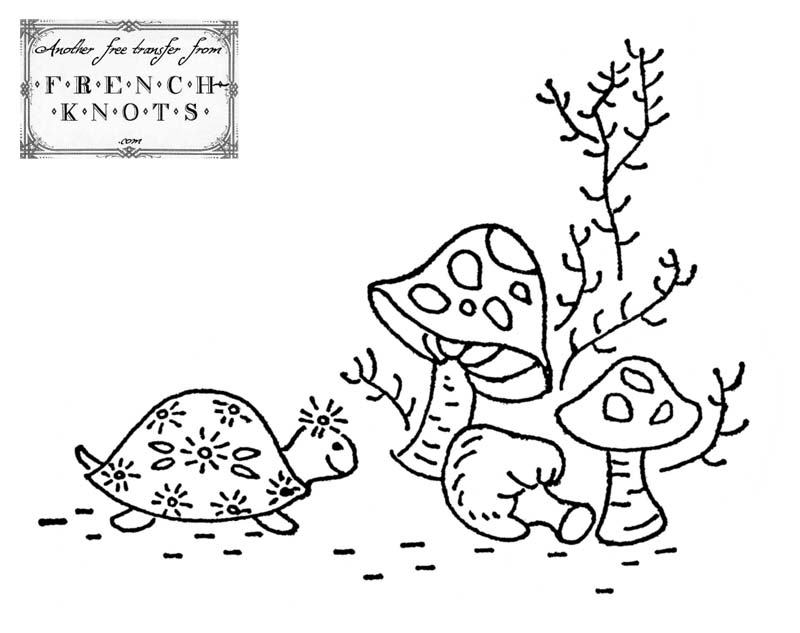 turtle and mushrooms embroidery pattern