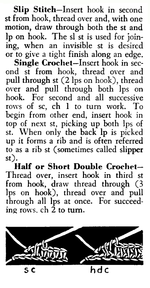 slip an single crochet