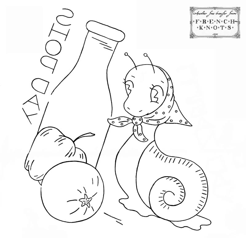 snail embroidery pattern