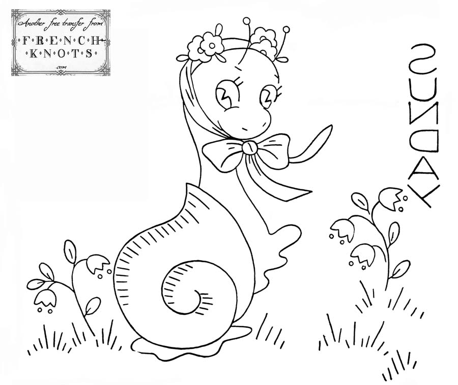 days of the week snails embroidery patterns