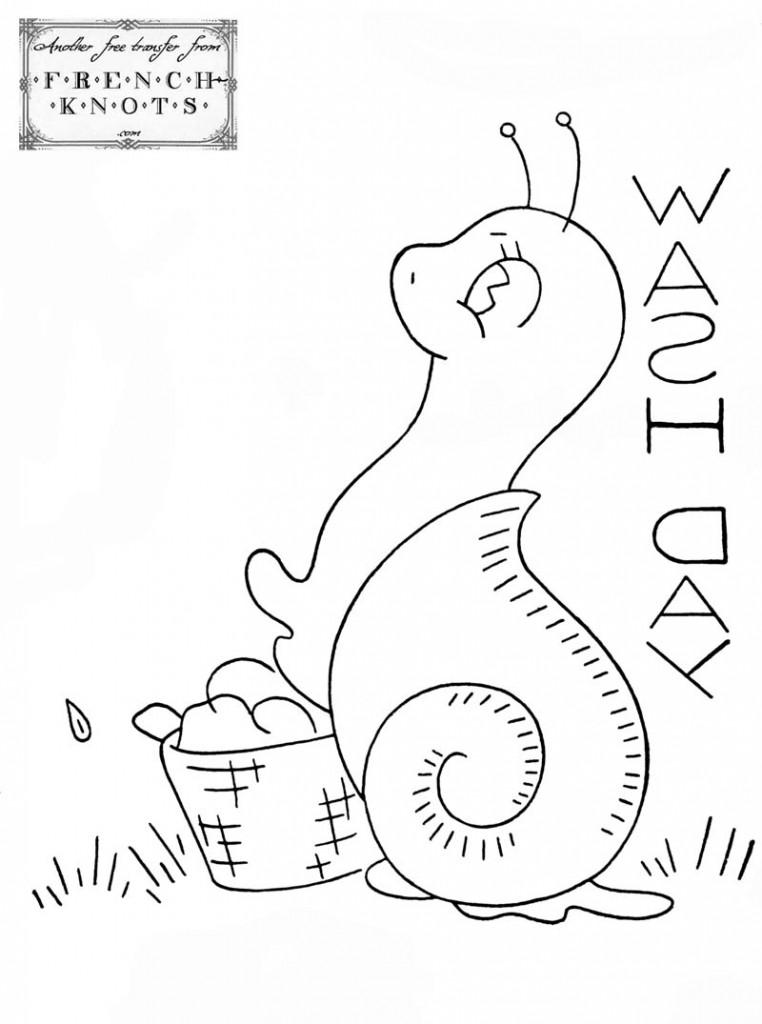 snail embroidery transfer pattern