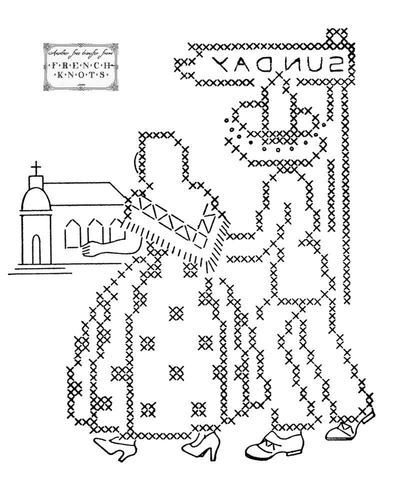 vintage embroidery transfer pattern