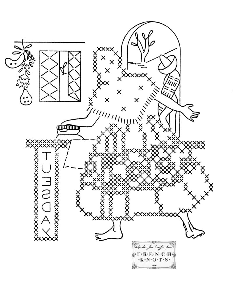 vintage Mexican Embroidery transfer pattern
