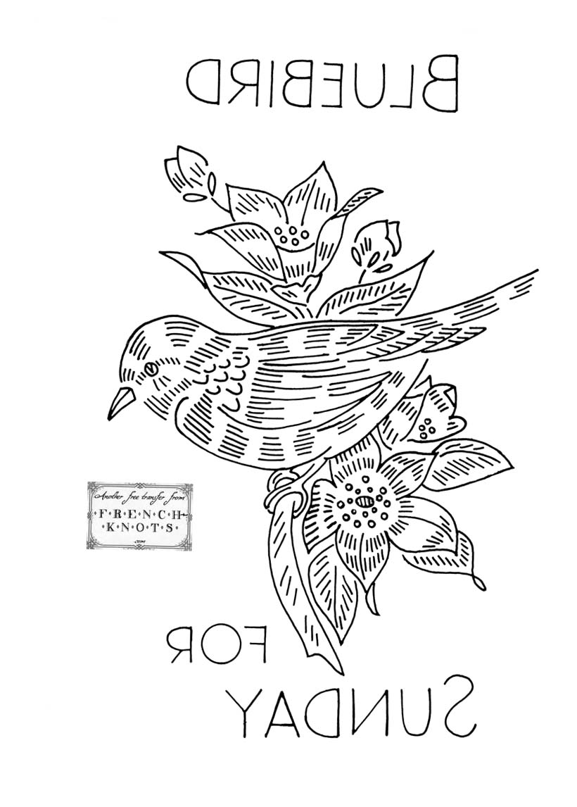 bluebird embroidery pattern