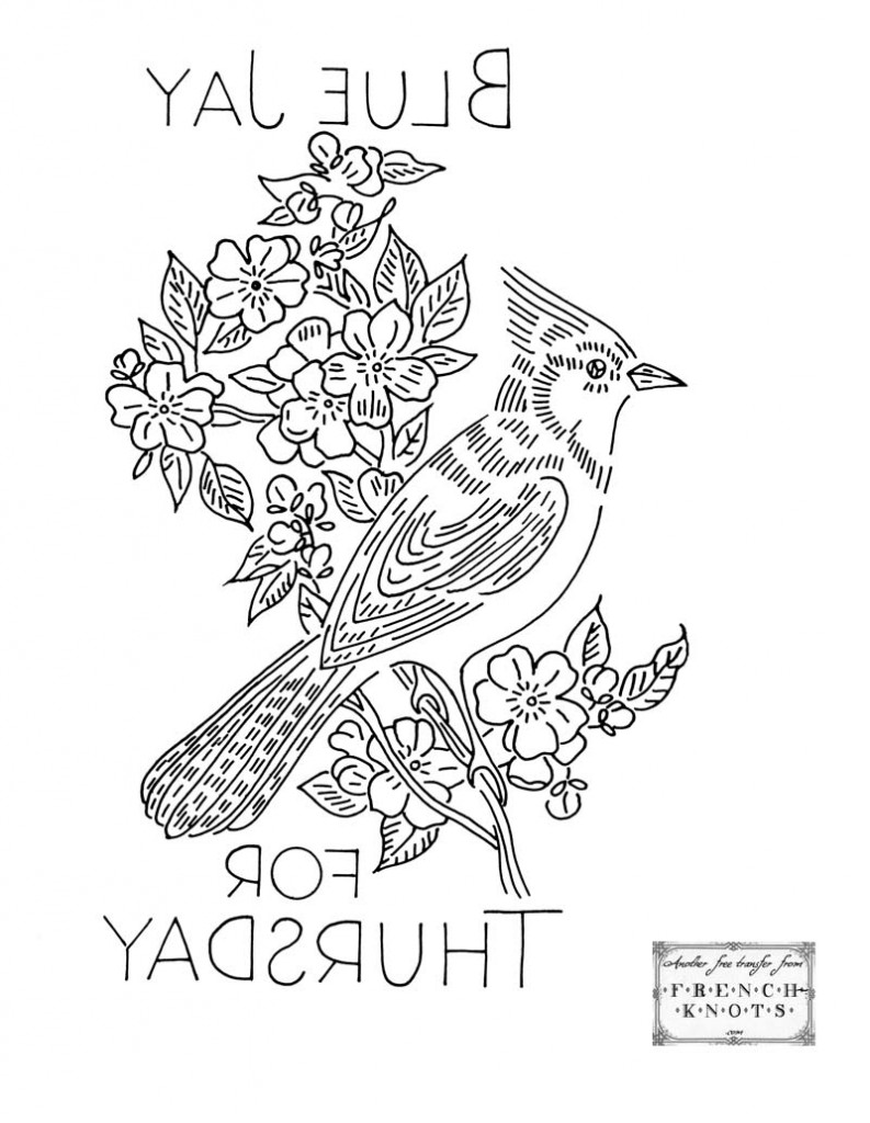 blue jay embroidery pattern