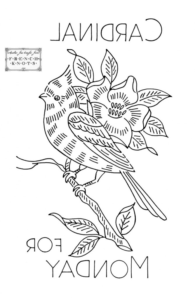 cardinal embroidery transfer