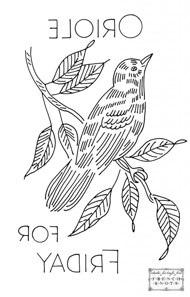 oriole embroidery pattern