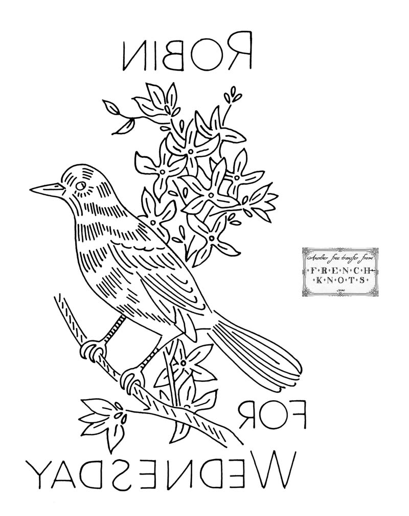 robin embroidery pattern