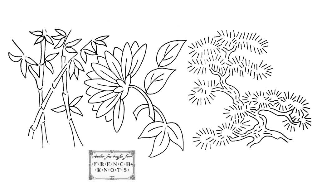 bonsai and mum embroidery transfer pattern