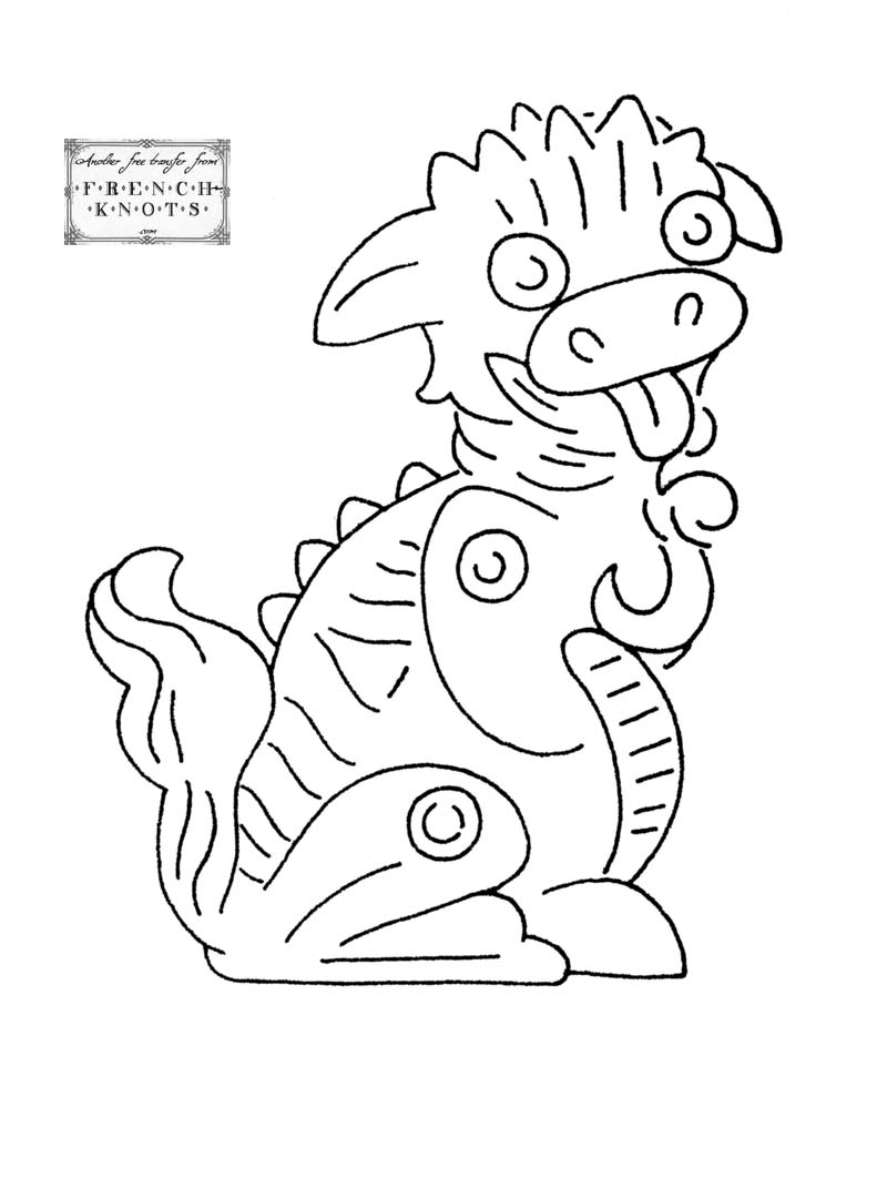 dragon embroidery transfer pattern
