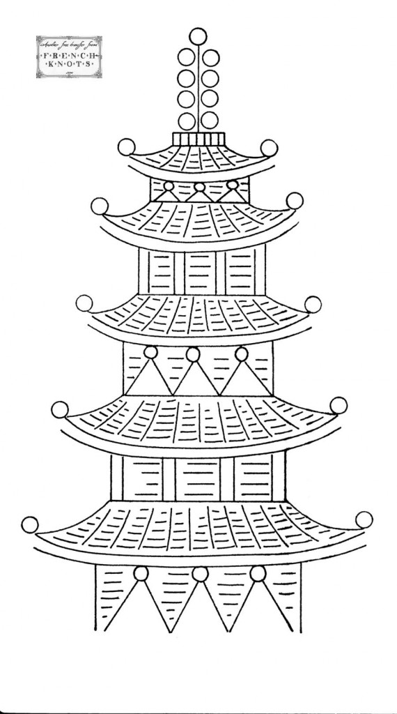 chinese pagoda embroidery transfer