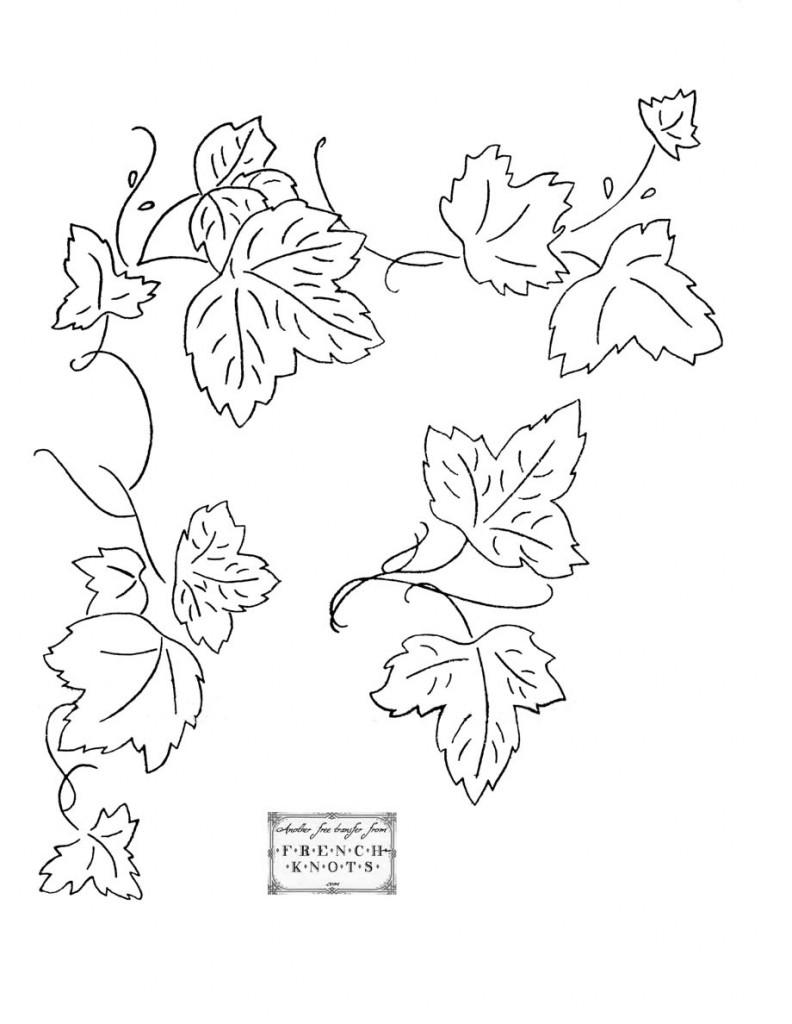 grapevine corner embroidery transfer