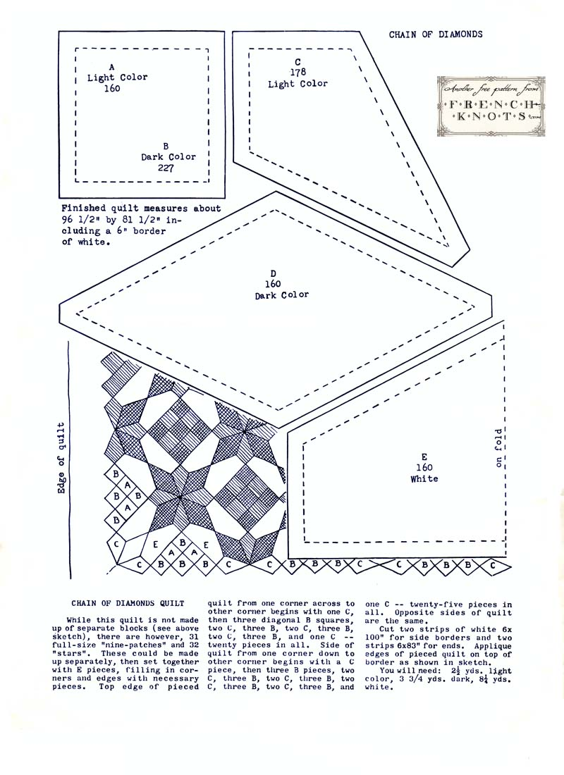 chain of diamonds quilting pattern