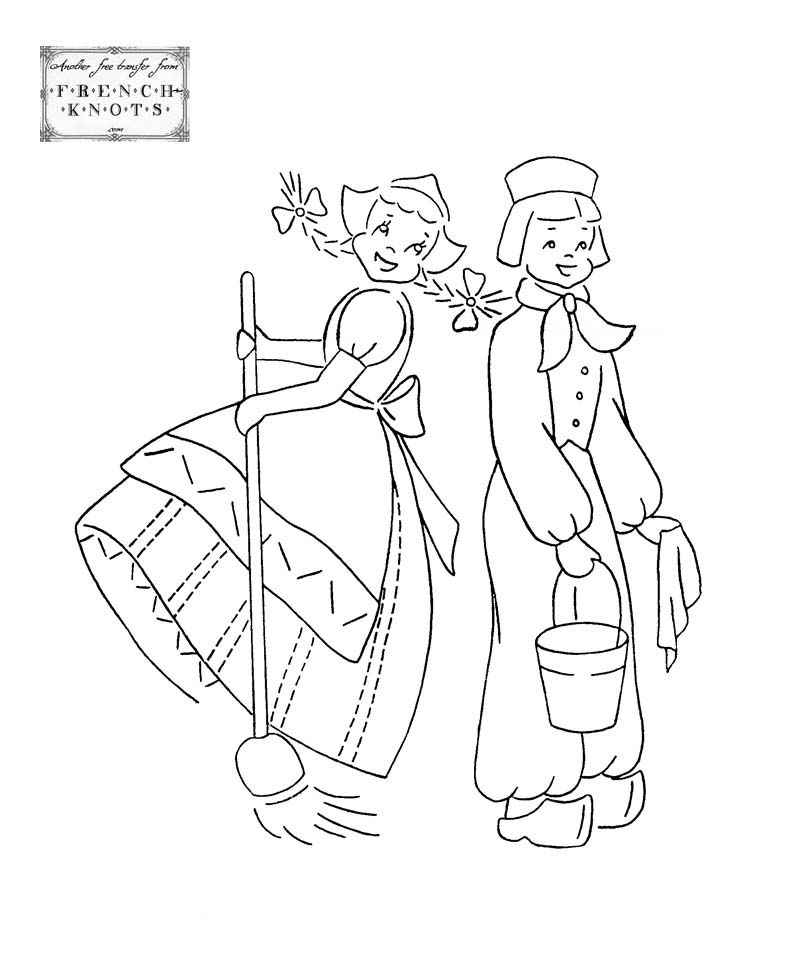dutch couple DOW embroidery transfer pattern