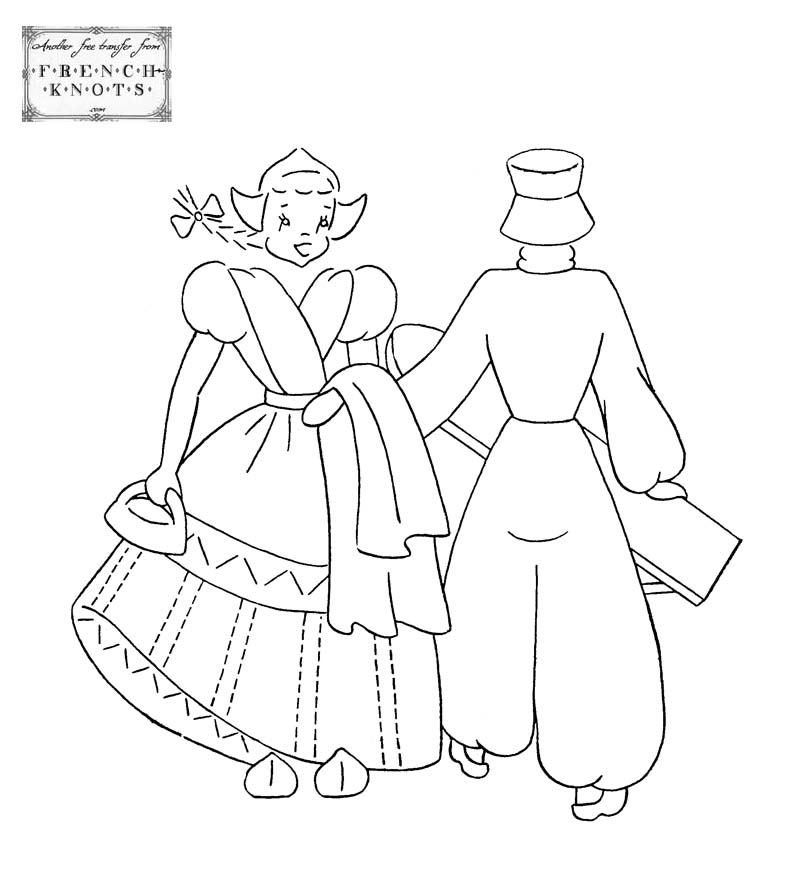 dutch couple embroidery transfer pattern