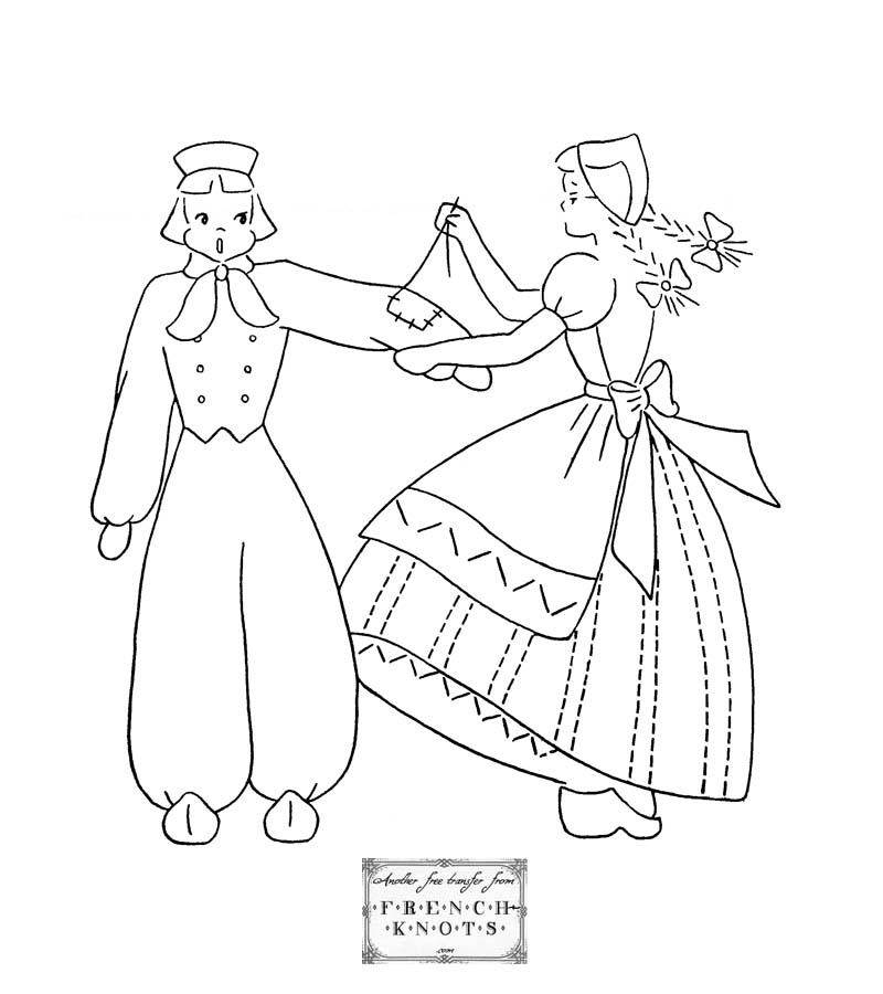 dutch couple embroidery pattern