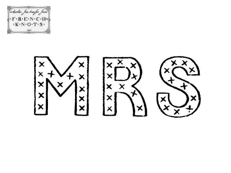 mrs monogram embroidery pattern