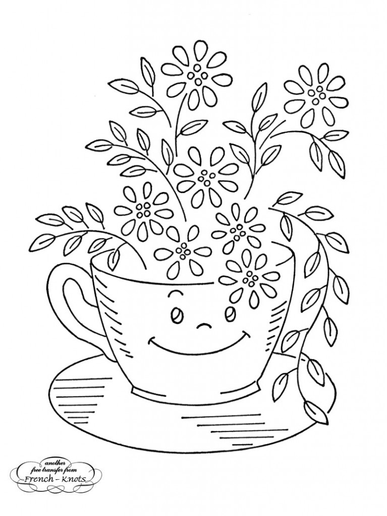 coffee cup and daisies embroidery pattern