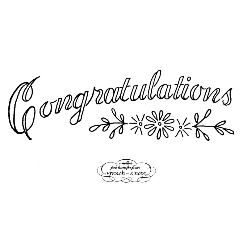 congrats embroidery transfer