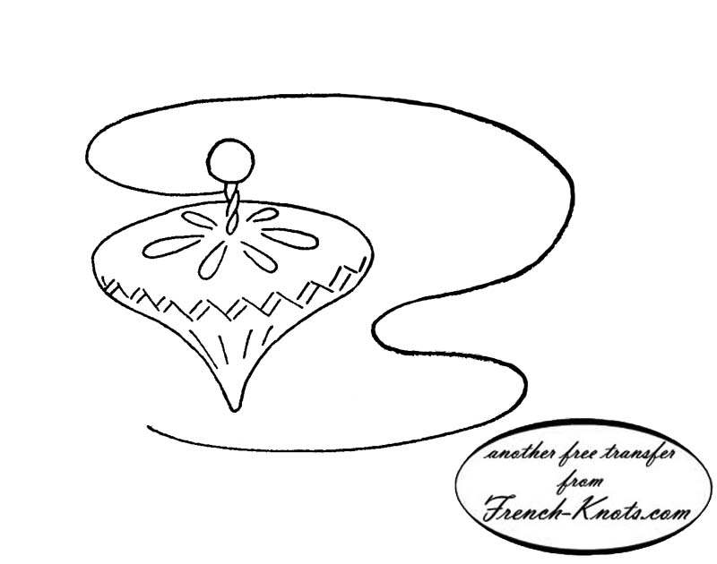 spinning top embroidery transfer pattern
