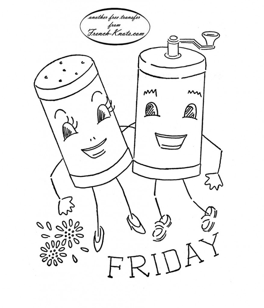 salt and pepper shakers embroidery transfer pattern
