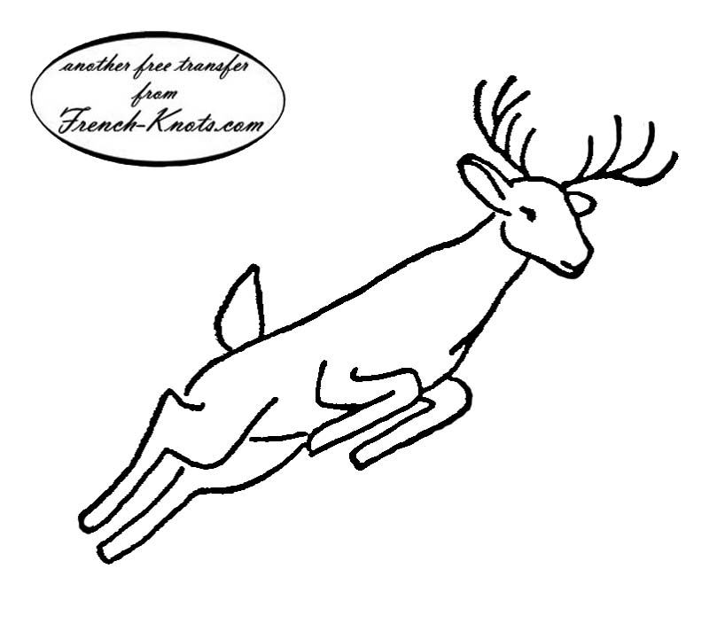 jumping deer embroidery transfer pattern