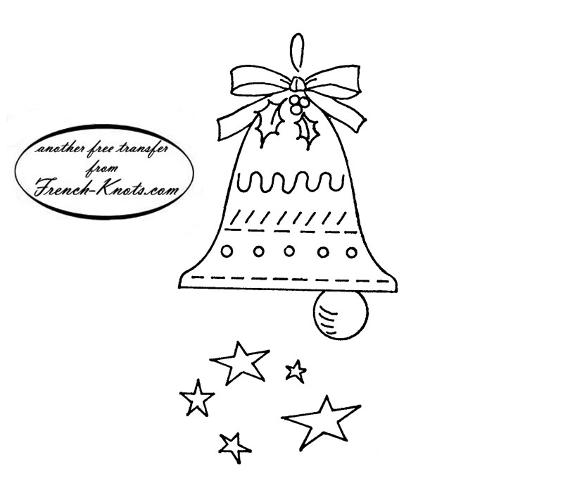Christmas bell embroidery transfer pattern