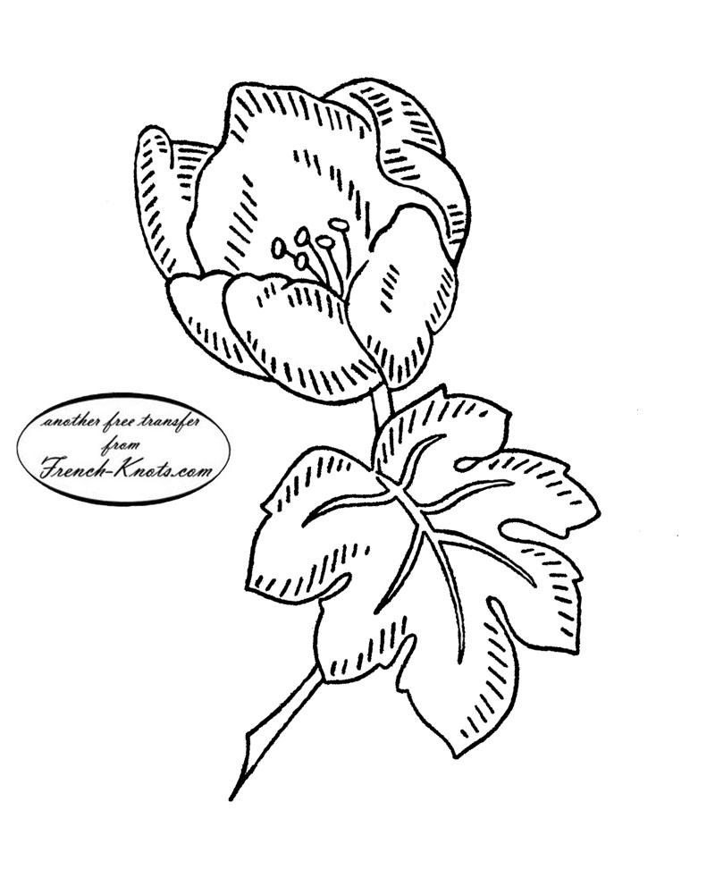vintage flower embroidery transfer pattern