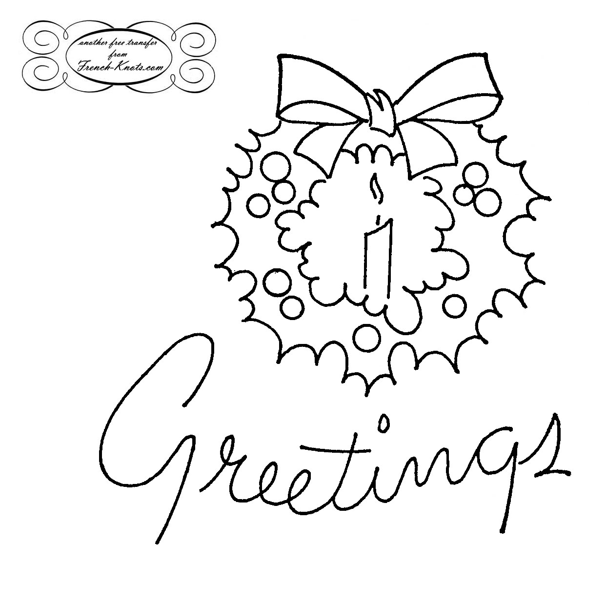 Christmas Greeting wreath embroidery transfer pattern