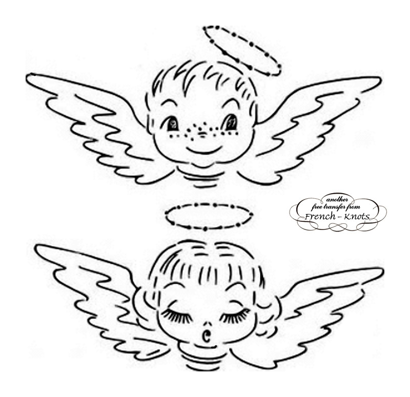 boy and girl angel embroidrery pattern