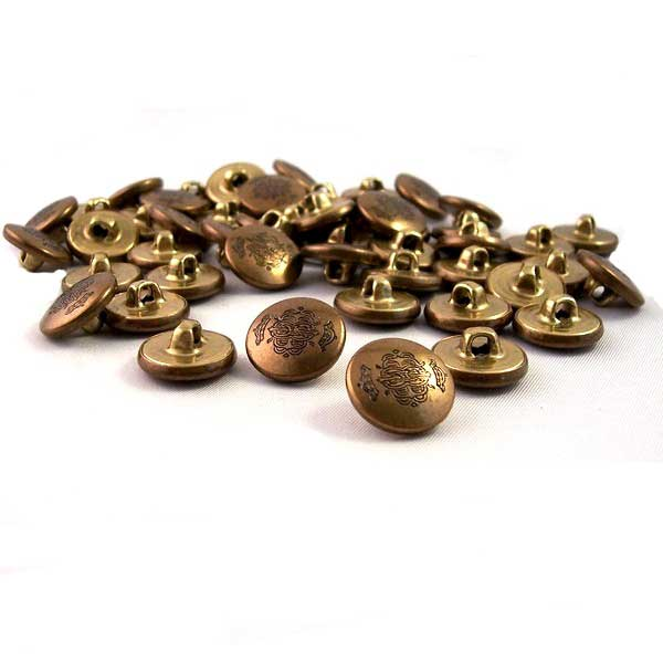 crown crested antique brass buttons