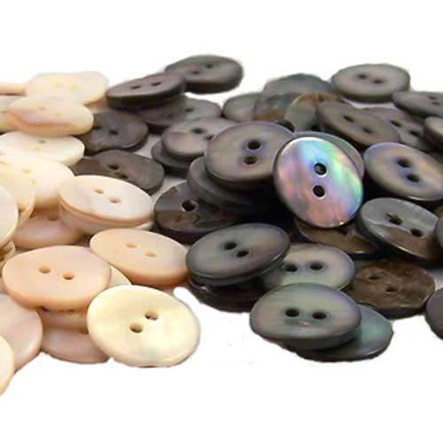 shell buttons combination of white and black lip