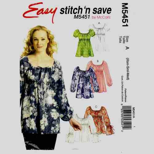 Mccalls 5451 peasant top sewing pattern