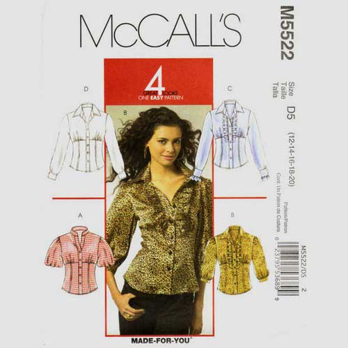 Mccalls 5522 empire blouse sewing pattern