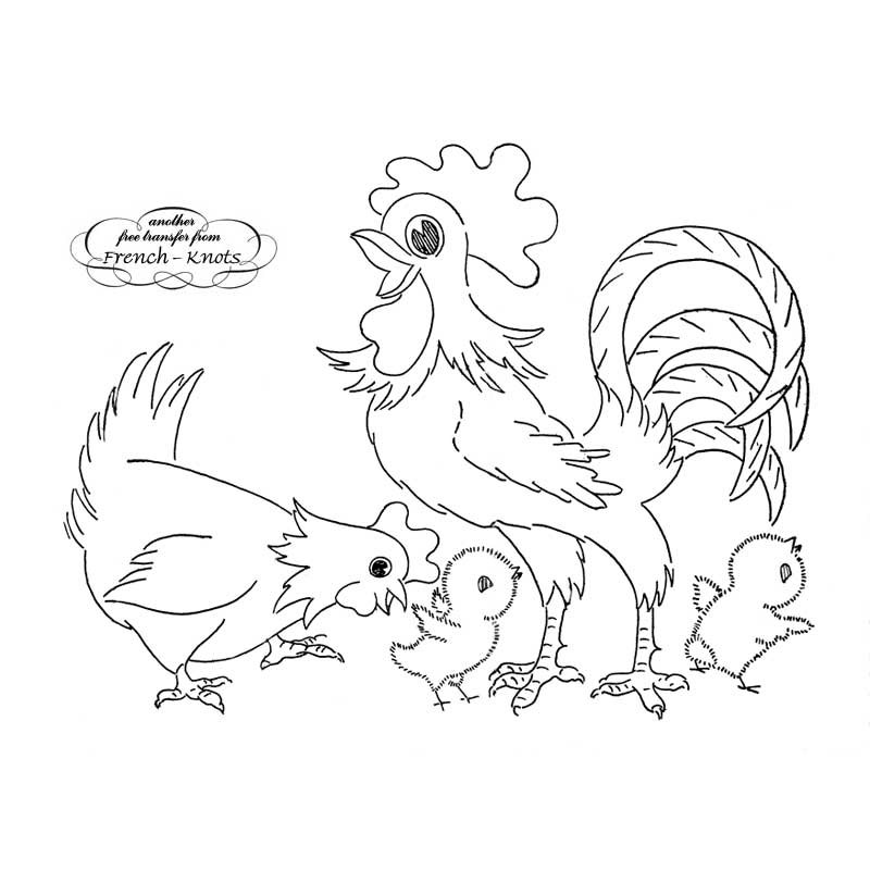 chicken family embroidery pattern