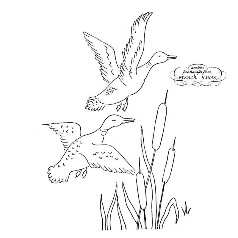 ducks scene embroidery pattern