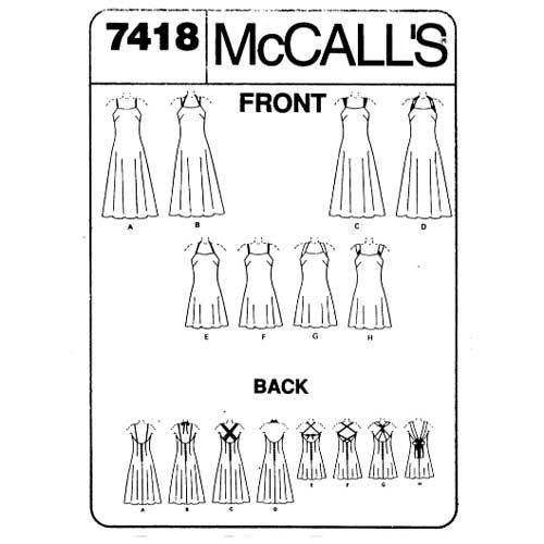 McCalls 7418 strappy dress pattern