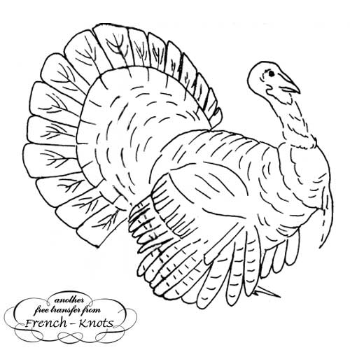 Thanksgiving turkey embroidery pattern