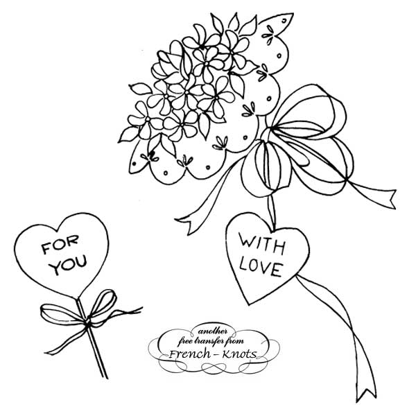 valentine bouquet embroidery pattern