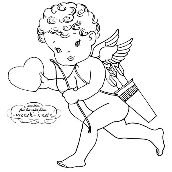 valentine cupid embroidery
